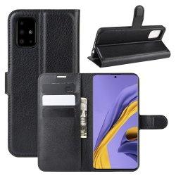Samsung Galaxy A51 Fodral Litchi Svart