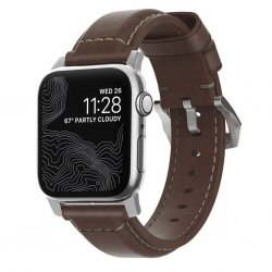 Apple Watch 44/42mm Armband Traditional Strap Silver/Rustic Brown