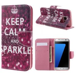 Samsung Galaxy S7 Edge Plånboksfodral Keep Calm And Sparkle