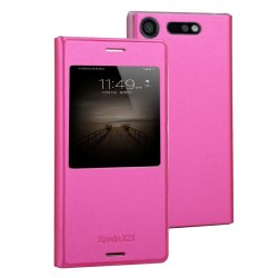 Sony Xperia XZ1 Fodral Caller-ID Litchi Magenta