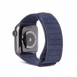 Apple Watch 38/40mm Armband Leather Magnetic Traction Strap Navy