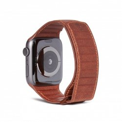 Apple Watch 42/44mm Armband Leather Magnetic Traction Strap Cinnamon Brown