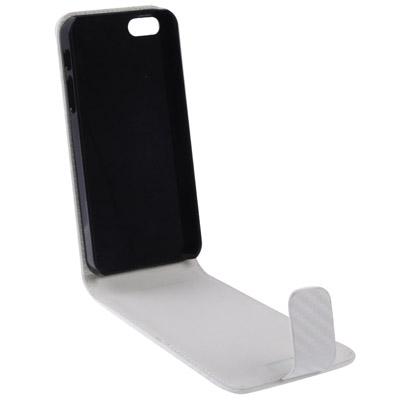 Fodral Väska För iPhone 5 5S Flip Vit Fiber Texture