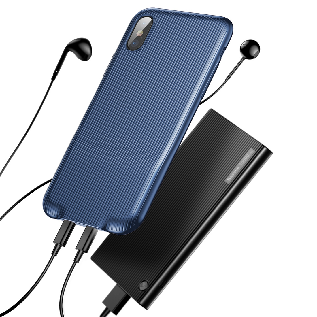 Baseus Audio Case till iPhone X/Xs Skal Dubbla Lightning Kontakter Blå