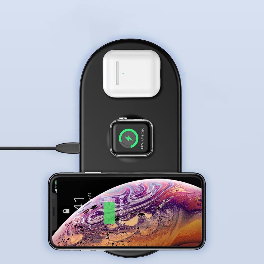 Trådlös Laddare för iPhone, Apple Watch och Airpods Svart