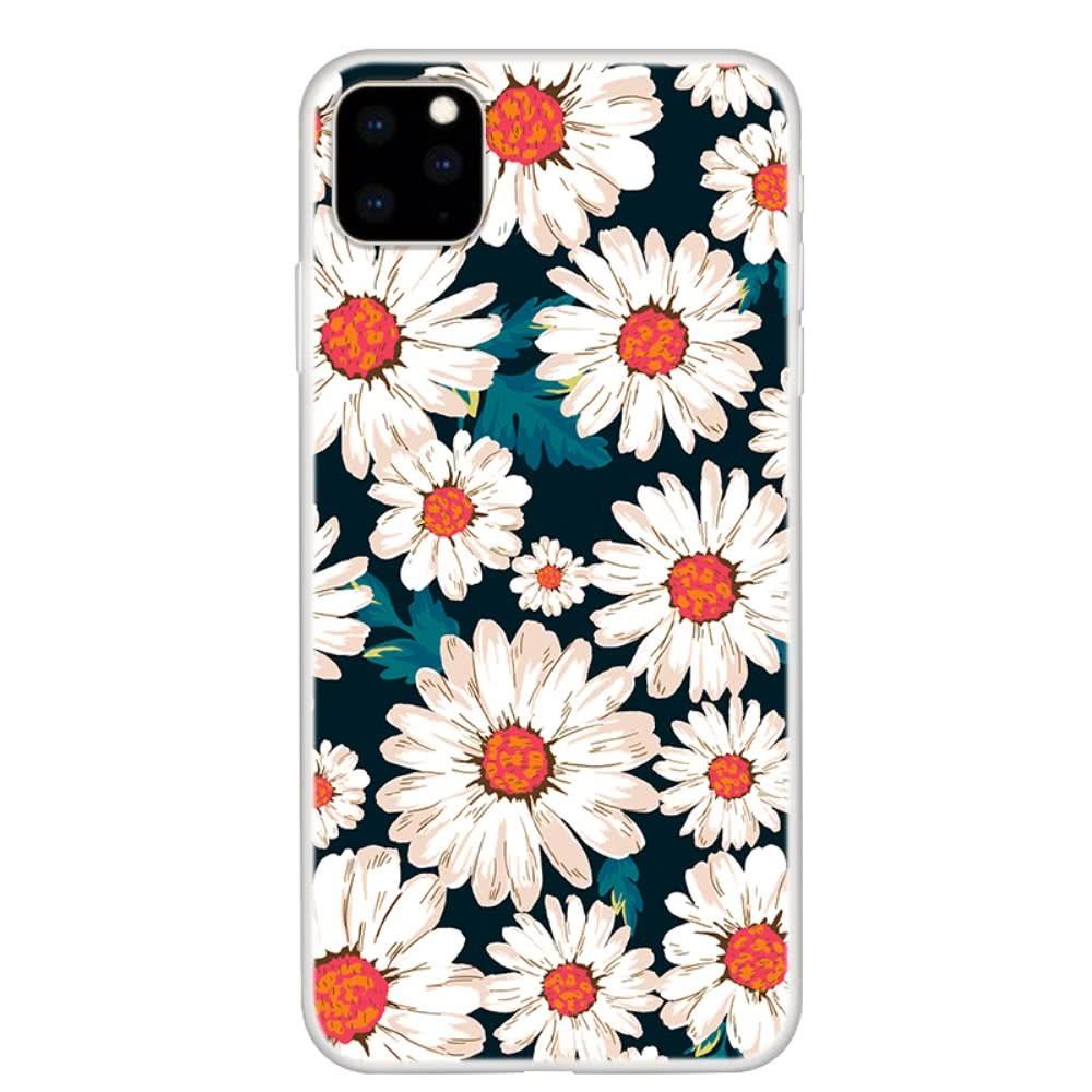 iPhone 11 Pro Skal TPU Motiv Vita Blommor