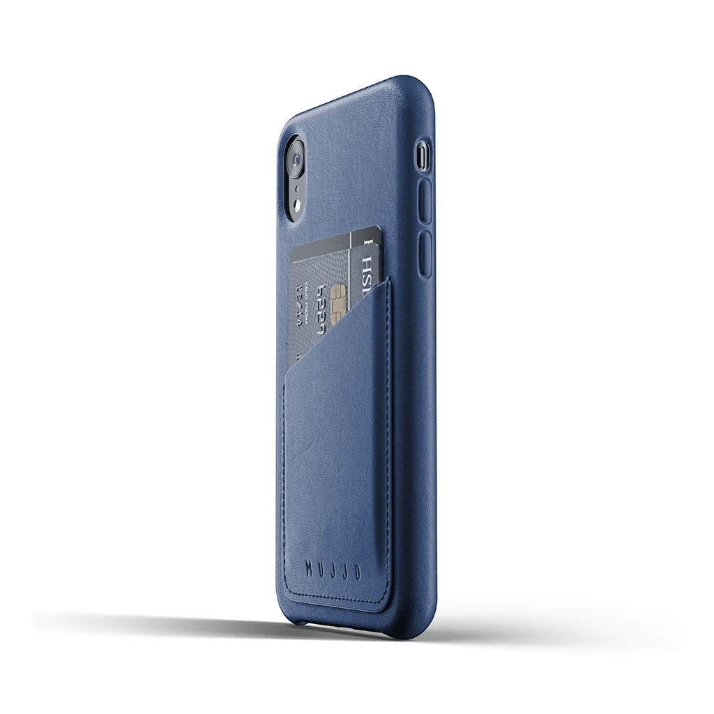 iPhone Xr Skal Äkta Läder Kortficka Blå