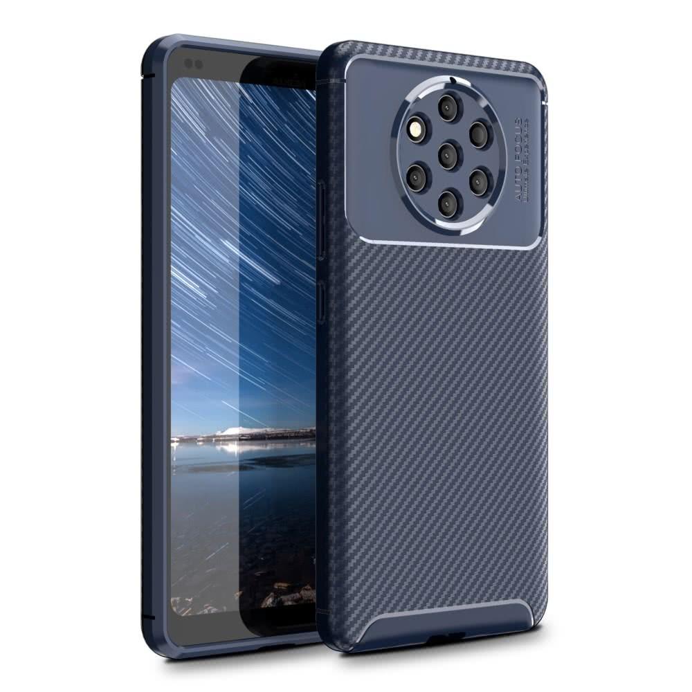 Nokia 9 PureView Skal Kolfibertextur TPU Mörkblå