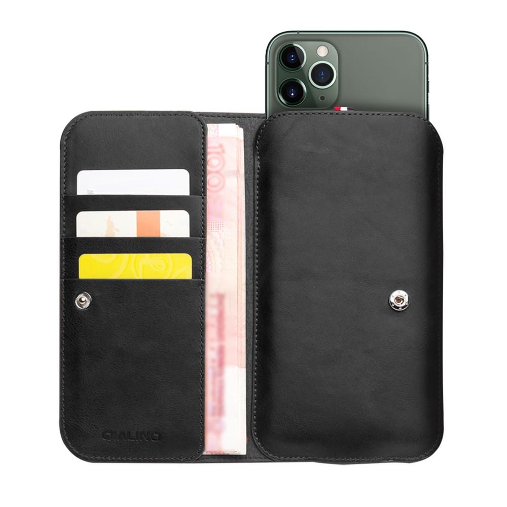 iPhone 1111 Pro11 Pro Max Väska med Kortfack Äkta Läder Svart