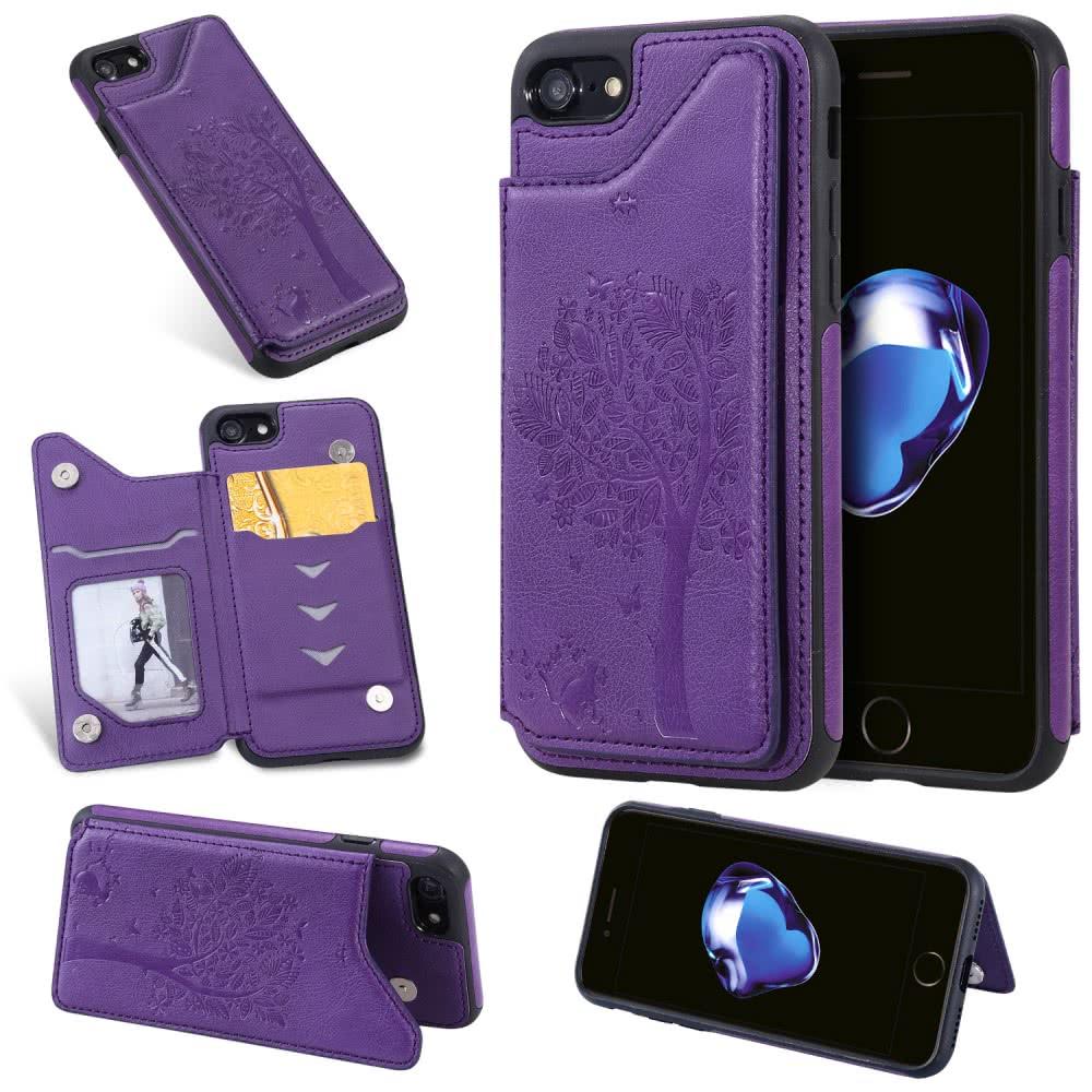 iPhone 7/8 Skal Utfällbart Kortfack Lila