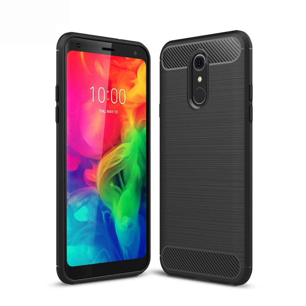 LG Q7 Mobilskal Kolfibertextur Borstad Svart