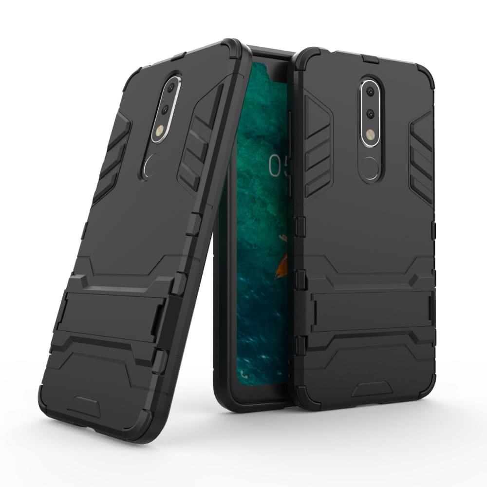 Nokia 5.1 Plus Skal Armor Hårdplast Stativfunktion Svart