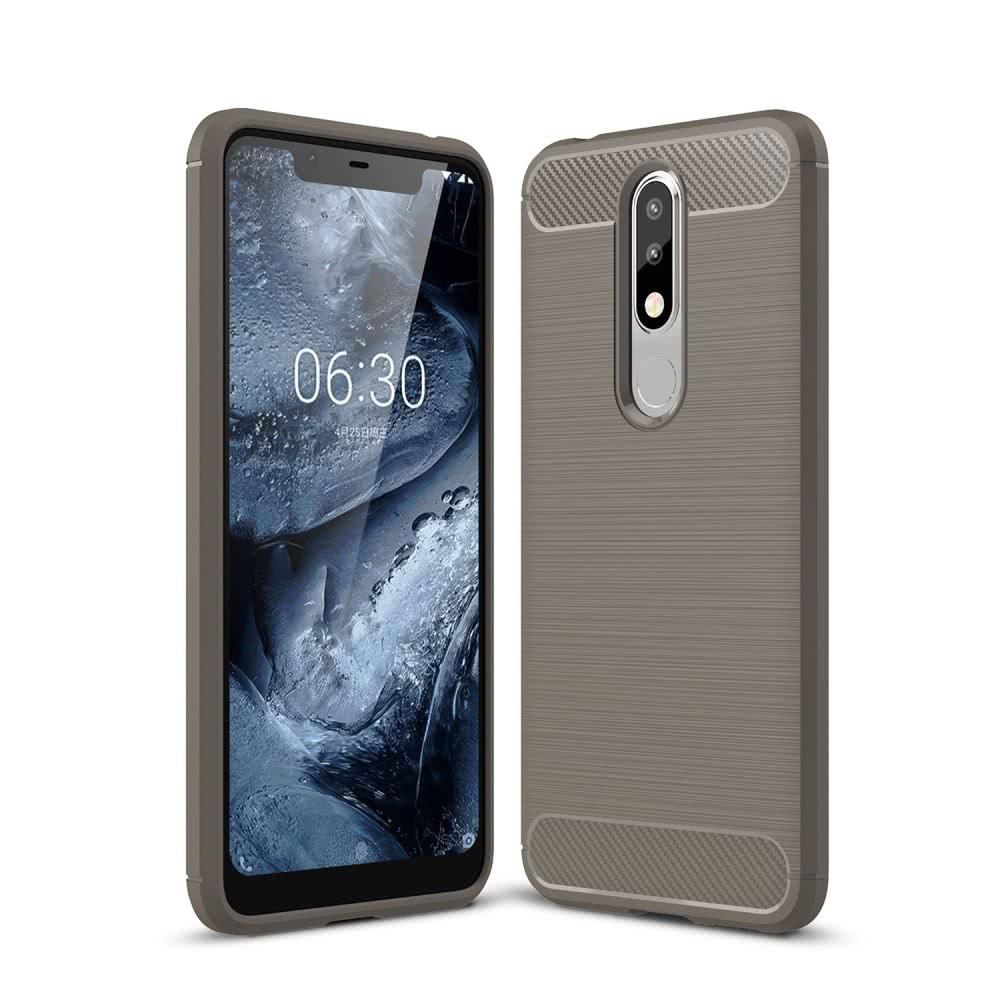 Nokia 5.1 Plus Skal TPU Borstad Kolfibertextur Grå