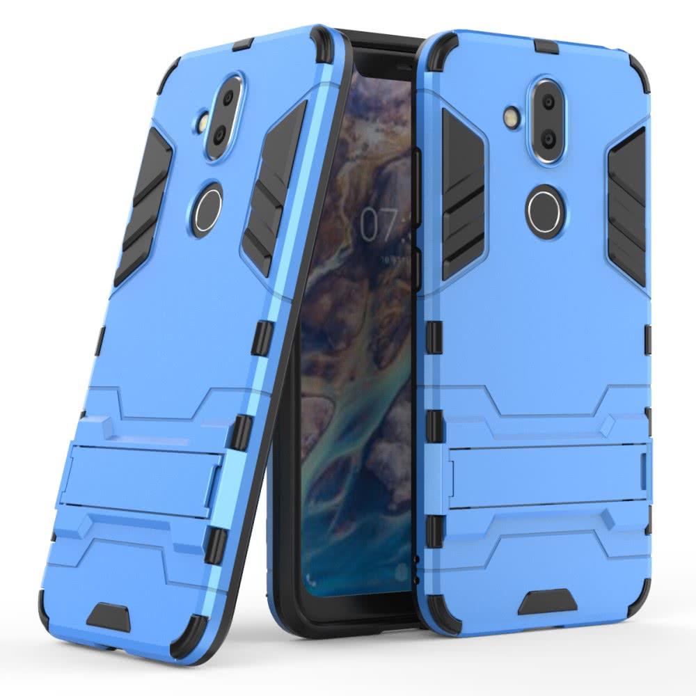 Nokia 8.1 Skal Armor Hårdplast Stativfunktion Ljusblå