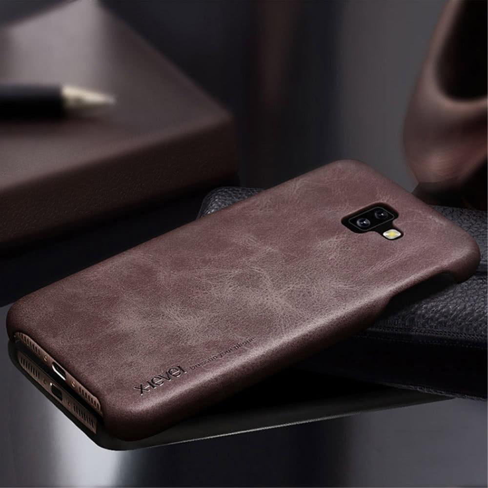 X-Level Samsung Galaxy J6 Plus Skal Vintage Style PU-läder TPU Mörkbrun